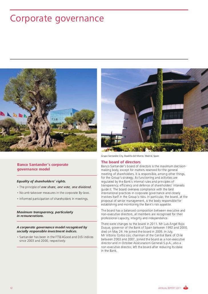 Corporate governance                                                              Grupo Santander City, Boadilla del Monte...