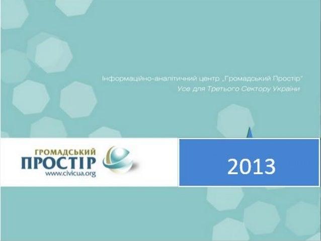 Фінансовий звіт 2013 21% Громадський Простір висловлює щиру подяку за підтримку роботи Центру в 2013 році