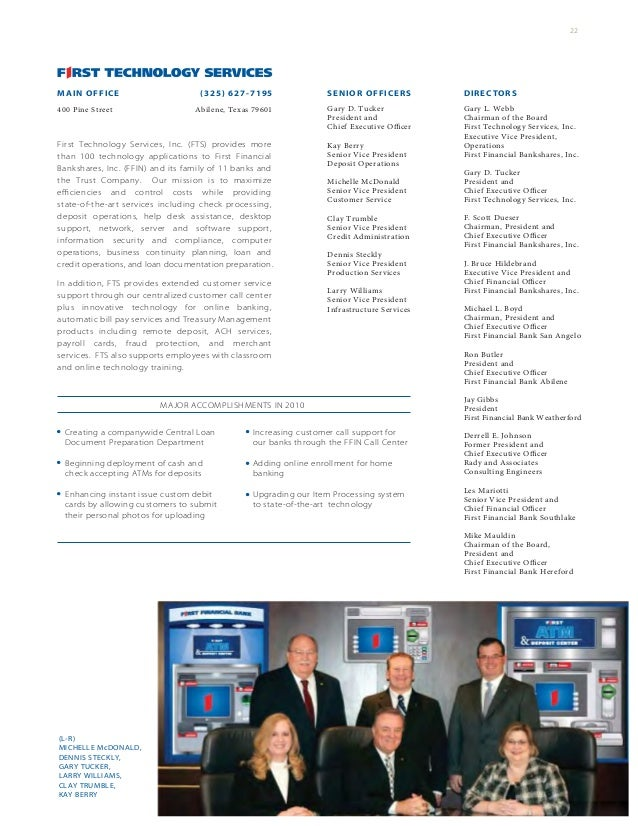 First Financial Annual Report 2010
