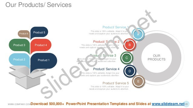 Product 1 Product 4 Product 5 Product 2 Product 3 Product 6 Product/ Service 1 This slide is 100% editable. Adapt it to yo...