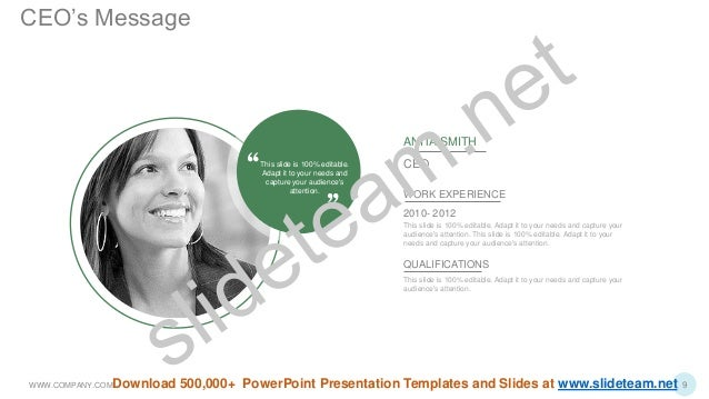This slide is 100% editable. Adapt it to your needs and capture your audience's attention. ANITA SMITH CEO WORK EXPERIENCE...
