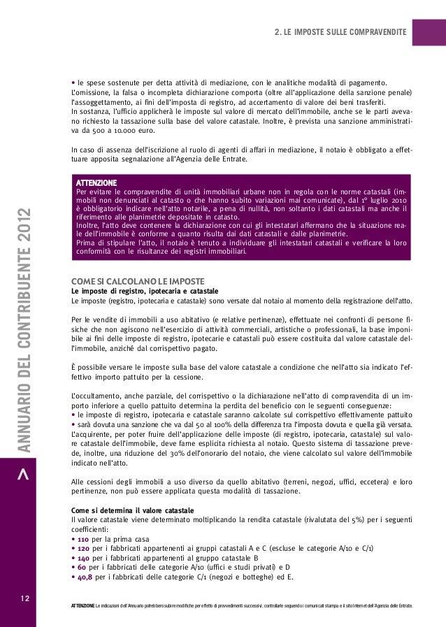 Imposte sulla casa annuario 2012 - Calcolo valore immobile da rendita catastale ...