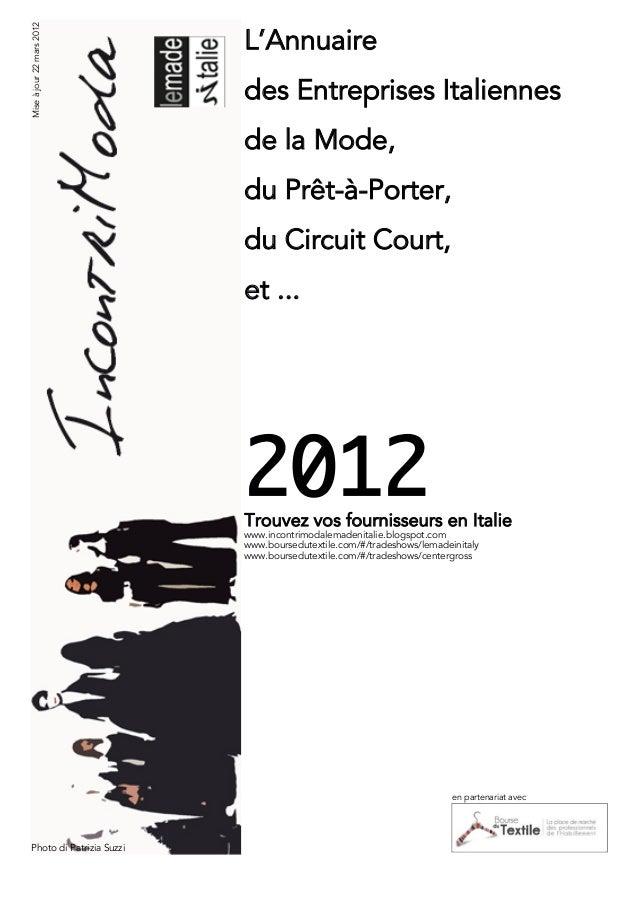 Mise à jour 22 mars 2012                           L'Annuaire                           des Entreprises Italiennes        ...