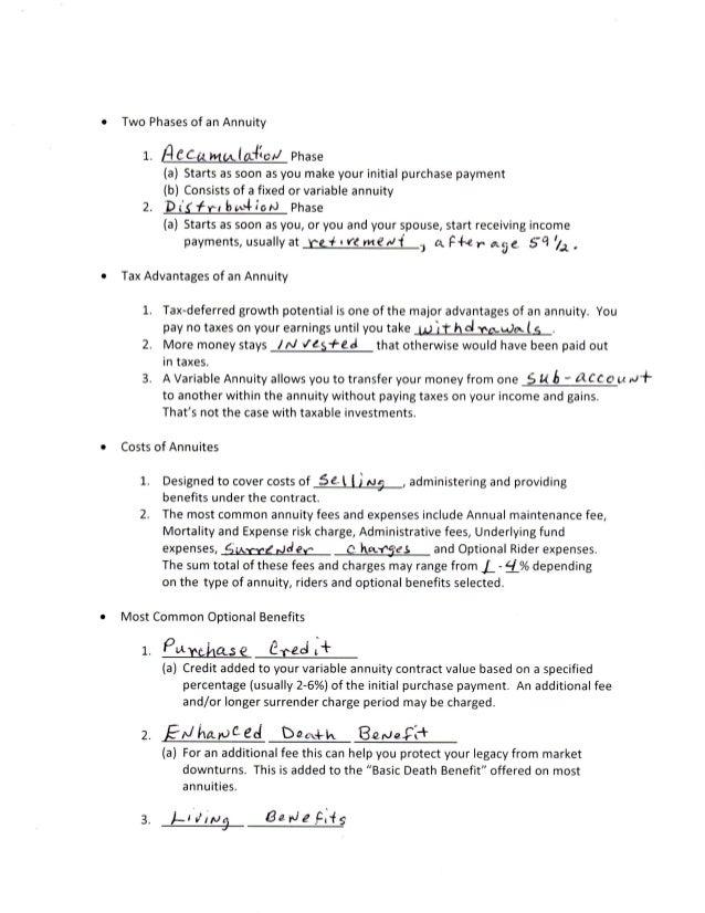 annuities worksheet