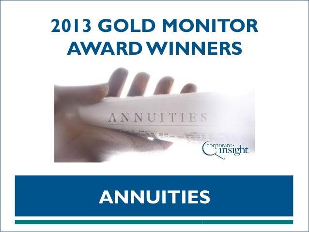 2013 GOLD MONITOR AWARD WINNERS  ANNUITIES