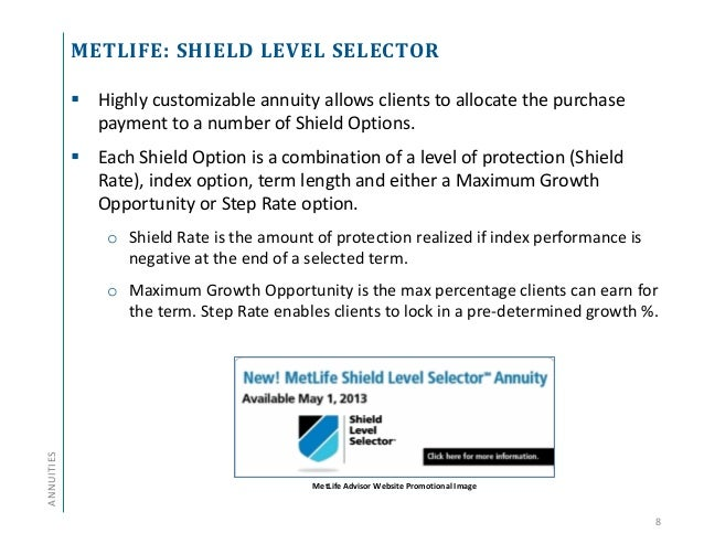 metlife shield Annuity and Life Insurance Product Update - Q2 2013
