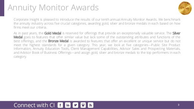 Corporate Insight is pleased to introduce the results of our tenth annual Annuity Monitor Awards. We benchmark the annuity...