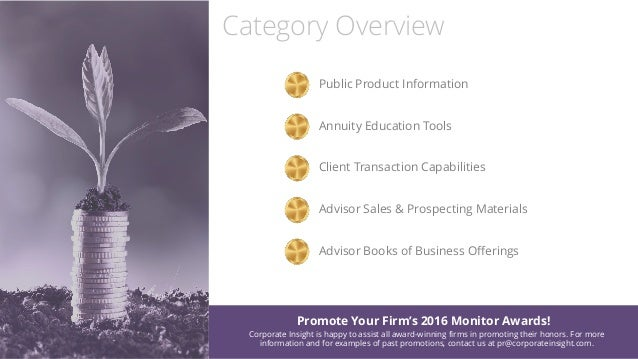 Category Overview Public Product Information Annuity Education Tools Client Transaction Capabilities Advisor Sales & Prosp...