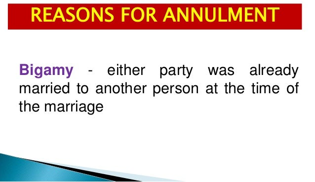 Reasons for annulment