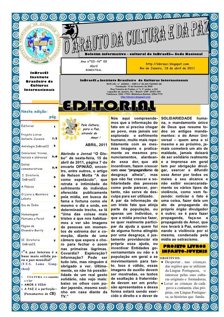 Boletim informativo - cultural do InBrasCI— Sede Nacional                                       Ano nº03—Nº 09            ...