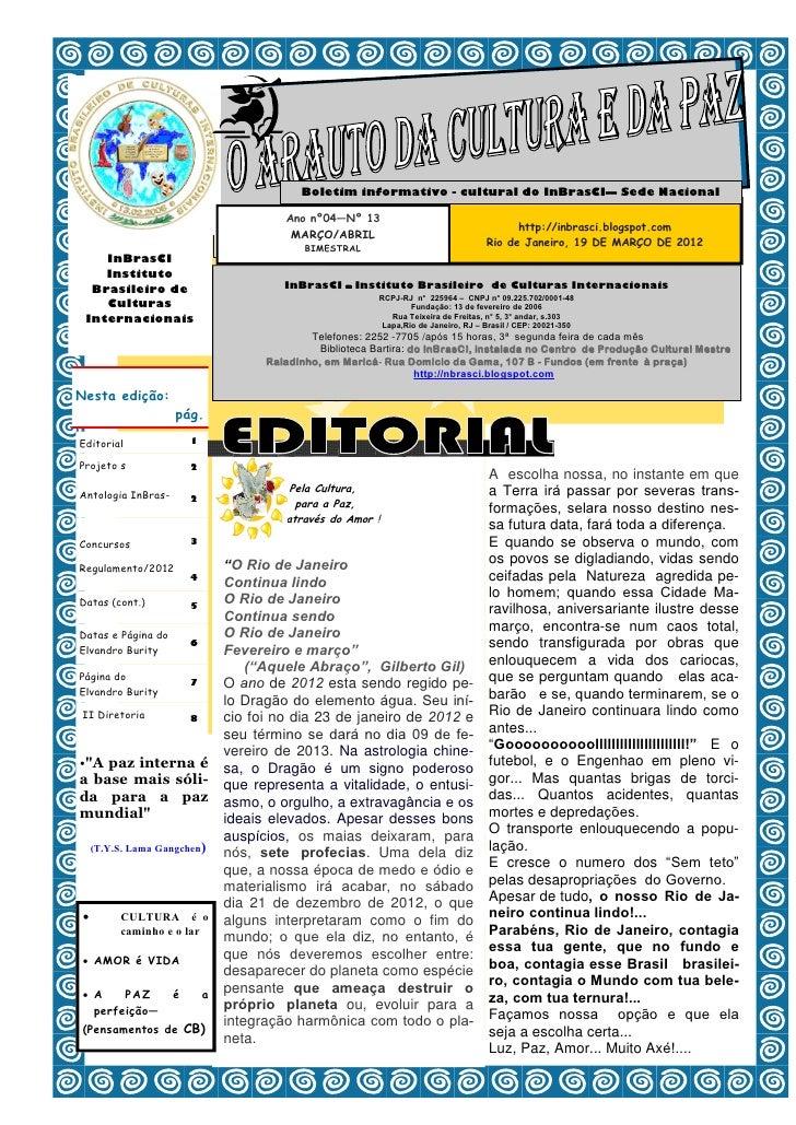 1                                            Boletim informativo - cultural do InBrasCI— Sede Nacional                    ...