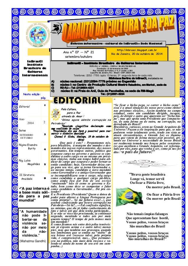 InBrasCI  Instituto  Brasileiro de  Culturas  Internacionais  Boletim informativo - cultural do InBrasCI— Sede Nacional  P...
