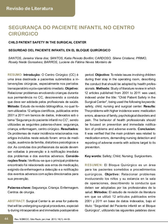 44 Revisão de Literatura SEGURANÇA DO PACIENTE INFANTIL NO CENTRO CIRÚRGICO CHILD PATIENT SAFETY IN THE SURGICAL CENTER SE...