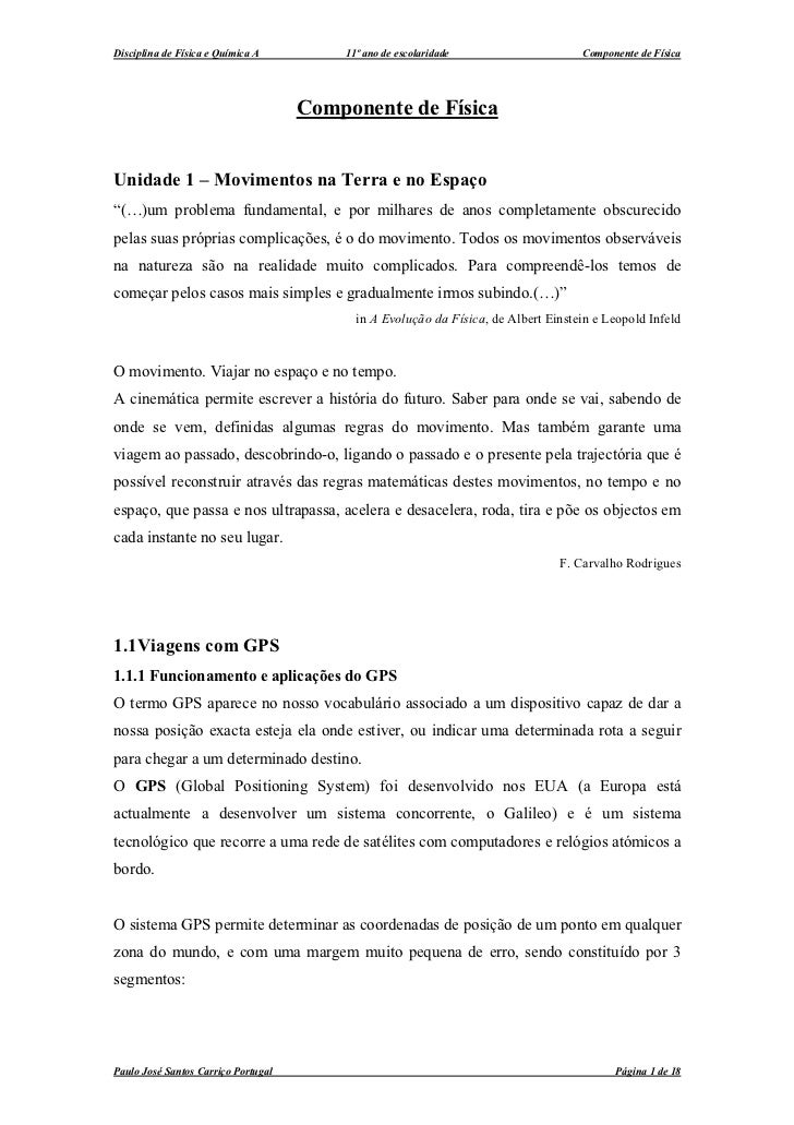 Disciplina de Física e Química A         11º ano de escolaridade                    Componente de Física                  ...