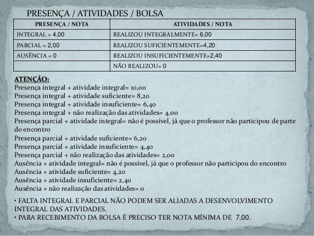 PRESENÇA / NOTA ATIVIDADES / NOTA INTEGRAL = 4,00 REALIZOU INTEGRALMENTE= 6,00 PARCIAL = 2,00 REALIZOU SUFICIENTEMENTE=4,2...