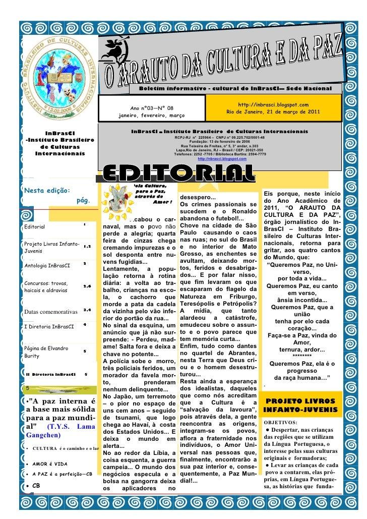 Boletim informativo - cultural do InBrasCI— Sede Nacional                                       Ano nº03—Nº 08            ...