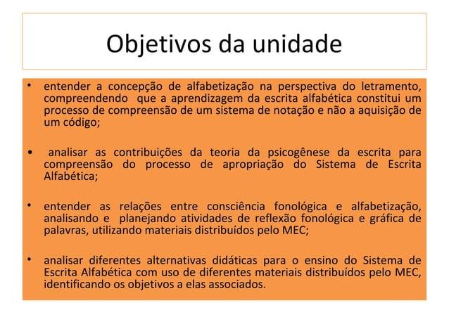 Objetivos da unidade•   entender a concepção de alfabetização na perspectiva do letramento,    compreendendo que a aprendi...