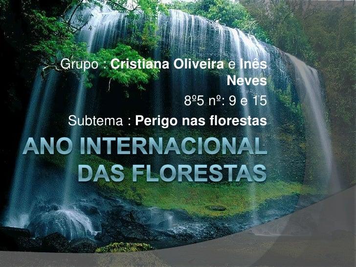 Ano internacional das Florestas<br />Grupo : Cristiana Oliveira e Inês Neves <br />8º5 nº: 9 e 15<br />Subtema : Perigo na...
