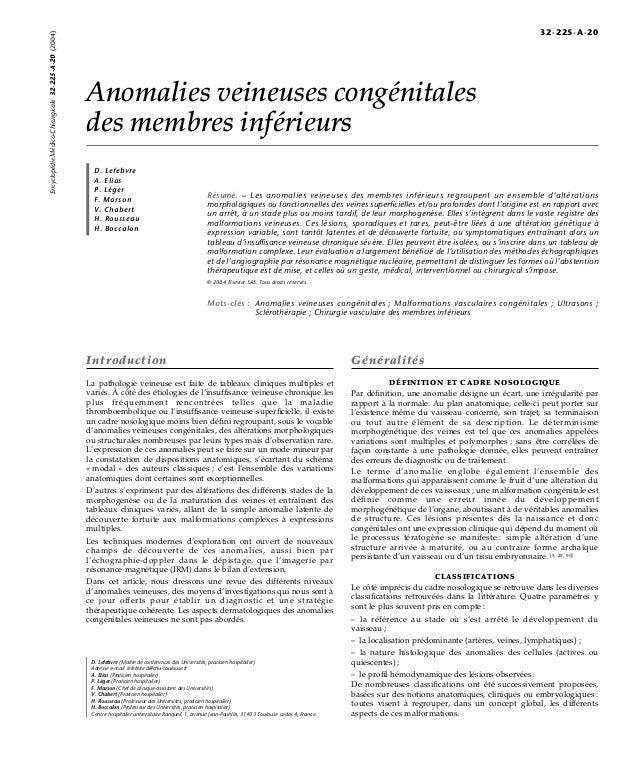 Anomalies veineuses congénitales  des membres inférieurs  D. Lefebvre  A. Elias  P. Léger  F. Marson  V. Chabert  H. Rouss...