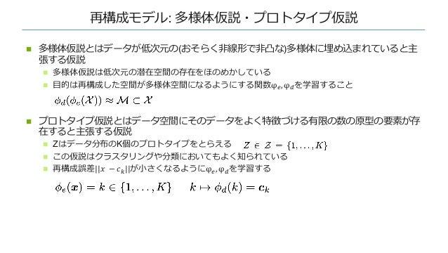 再構成モデル: 多様体仮説・プロトタイプ仮説 n 多様体仮説とはデータが低次元の(おそらく⾮線形で⾮凸な)多様体に埋め込まれていると主 張する仮説 n 多様体仮説は低次元の潜在空間の存在をほのめかしている n ⽬的は再構成した空間が多様体空間に...