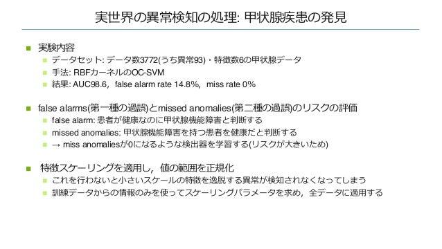 実世界の異常検知の処理: MVTec⼯業検査 n MVTecADの⽊のクラスのAUCの結果 n 深層モデルを使っていないKDEが 最も良い結果となった(なぜ︖) n → ニューラル化 + LRPを⾏う n KDEは実際の異常(3つの⽳)をみてい...