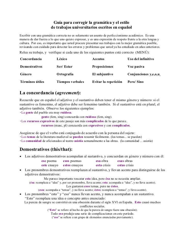 Guía para corregir la gramática y el estilo                        de trabajos universitarios escritos en españolEscribir ...