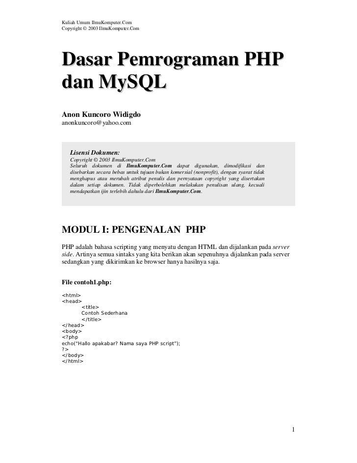 Kuliah Umum IlmuKomputer.ComCopyright © 2003 IlmuKomputer.ComDasar Pemrograman PHPdan MySQLAnon Kuncoro Widigdoanonkuncoro...