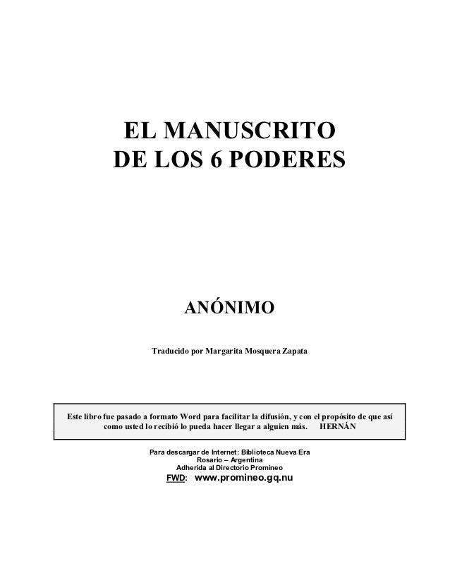 EL MANUSCRITO             DE LOS 6 PODERES                                 ANÓNIMO                        Traducido por Ma...