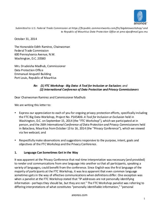 anonos.com   1      Submitted  to  U.S.  Federal  Trade  Commission  at  https://ftcpublic.commentwo...