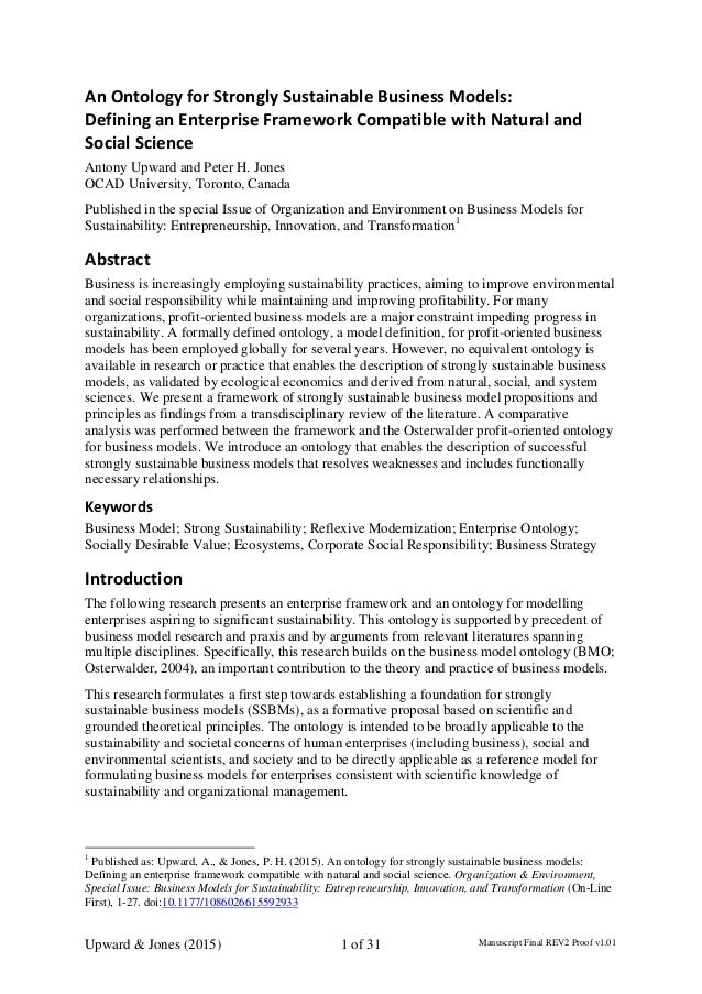 An Ontology for Strongly Sustainable Business Models:   Defining an Enterprise Framework Compatible with Natural and  Soci...