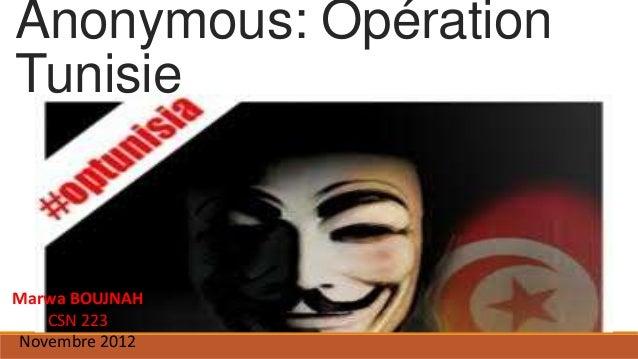 Anonymous: OpérationTunisieMarwa BOUJNAH   CSN 223Novembre 2012