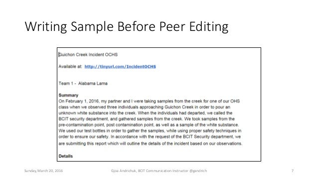 sample of peer review Such opportunities to engage in peer review, when well planned (for suggestions on how to write specific comments that can help students improve their writing examples include indicating the strongest part of a paper.