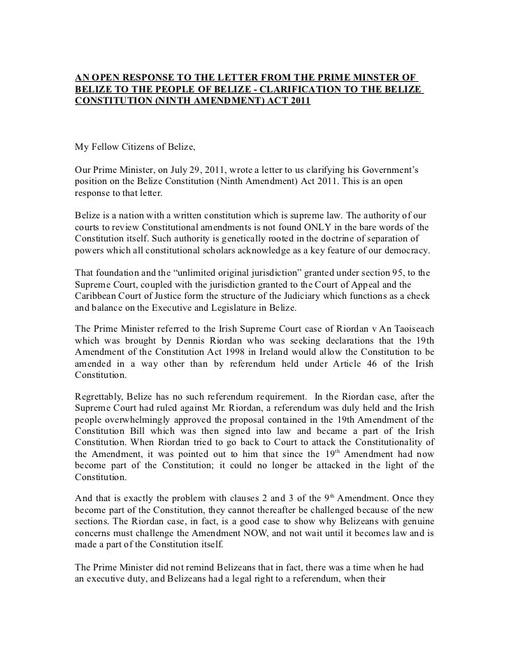 AN OPEN RESPONSE TO THE LETTER FROM THE PRIME MINSTER OFBELIZE TO THE PEOPLE OF BELIZE - CLARIFICATION TO THE BELIZECONSTI...