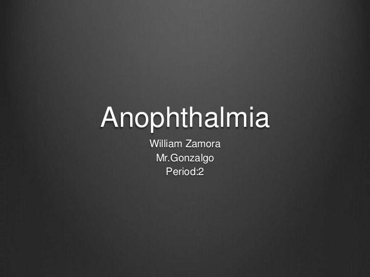 Anophthalmia   William Zamora    Mr.Gonzalgo       Period:2