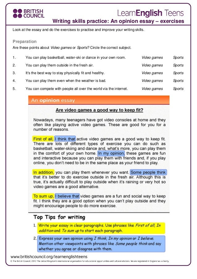 an opinion essay exercises look at the essay and do the exercises to practise and improve your writing skills