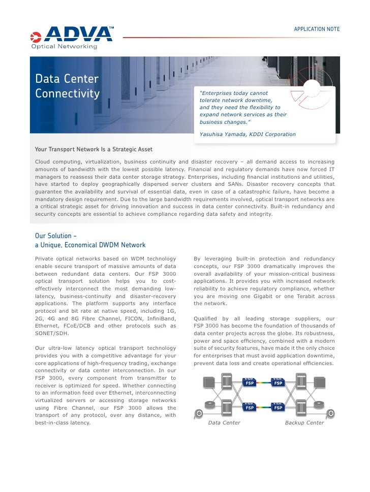 "APPLICATION NOTEData CenterConnectivity                                                   ""Enterprises today cannot       ..."