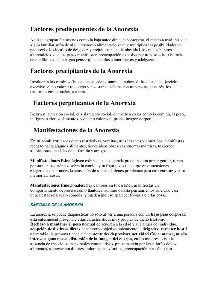 Factores predisponentes de la Anorexia<br />Aquí se agrupan fenómenos como la baja autoestima, el sobrepeso, el miedo a ma...