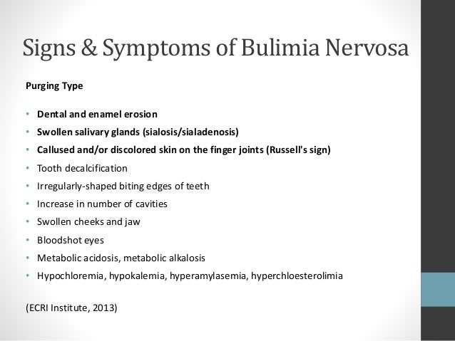 the history symptoms and treatment of bulimia nervosa an eating disorder Binge eating disorder and obesity: definition, discussion and treatment next lesson what is bulimia nervosa - definition, symptoms, treatment and prognosis.