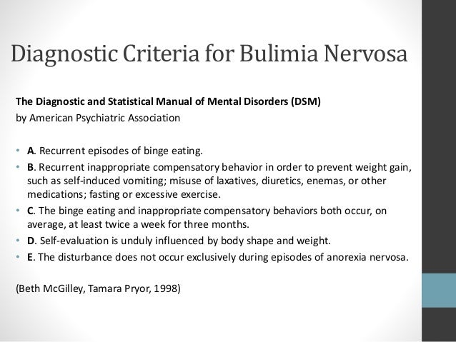diagnosis symptoms and treatment of the eating disorder bulimia nervosa