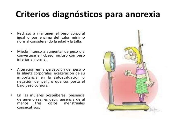 aneroxia nervosa Negación a mantener el peso corporal dentro de un rango normal de para la talla y la edad asociada con el miedo a aumentar de peso, alterar la imagen corporal y la.