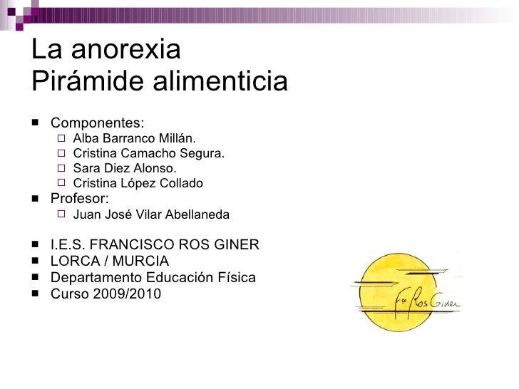 La anorexia Pirámide alimenticia <ul><li>Componentes: </li></ul><ul><ul><li>Alba Barranco Millán. </li></ul></ul><ul><ul><...