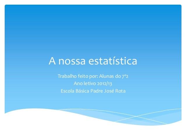 A nossa estatística Trabalho feito por: Alunas do 7º2 Ano letivo 2012/13 Escola Básica Padre José Rota