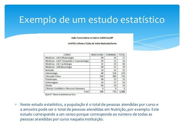 Exemplo de um estudo estatístico   Neste estudo estatístico, a população é o total de pessoas atendidas por curso e a amo...