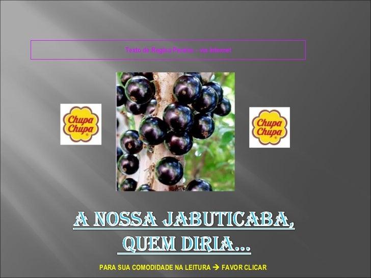 Texto de Regina Pereira – via Internet  PARA SUA COMODIDADE NA LEITURA    FAVOR CLICAR