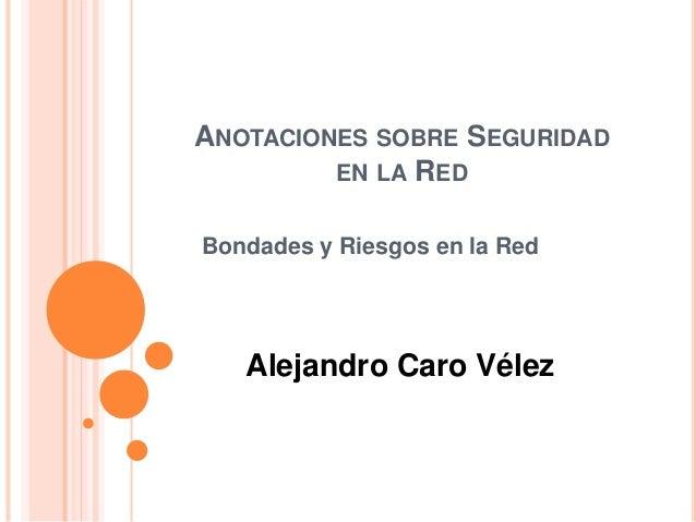 ANOTACIONES SOBRE SEGURIDAD EN LA RED Bondades y Riesgos en la Red Alejandro Caro Vélez