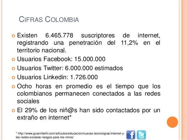 CIFRAS COLOMBIA  Existen 6.465.778 suscriptores de internet, registrando una penetración del 11,2% en el territorio nacio...