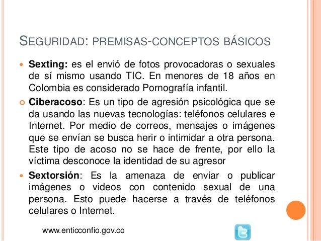 SEGURIDAD: PREMISAS-CONCEPTOS BÁSICOS  Sexting: es el envió de fotos provocadoras o sexuales de sí mismo usando TIC. En m...