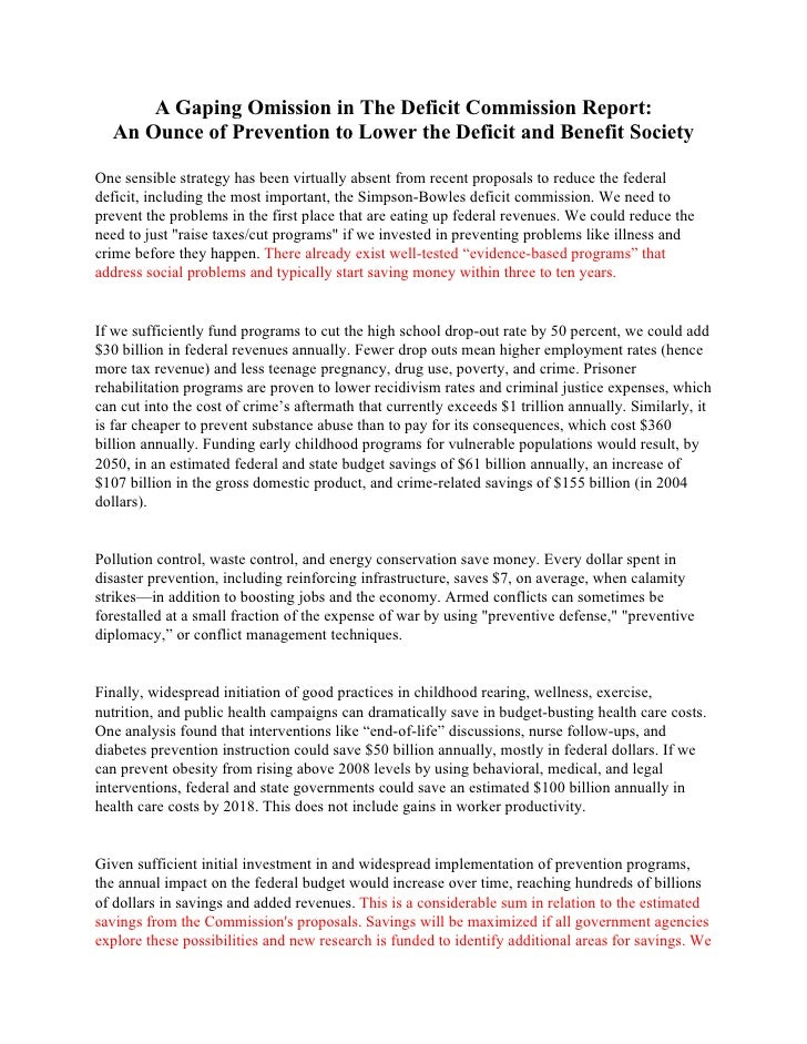 A Gaping Omission in The Deficit Commission Report:  An Ounce of Prevention to Lower the Deficit and Benefit SocietyOne se...