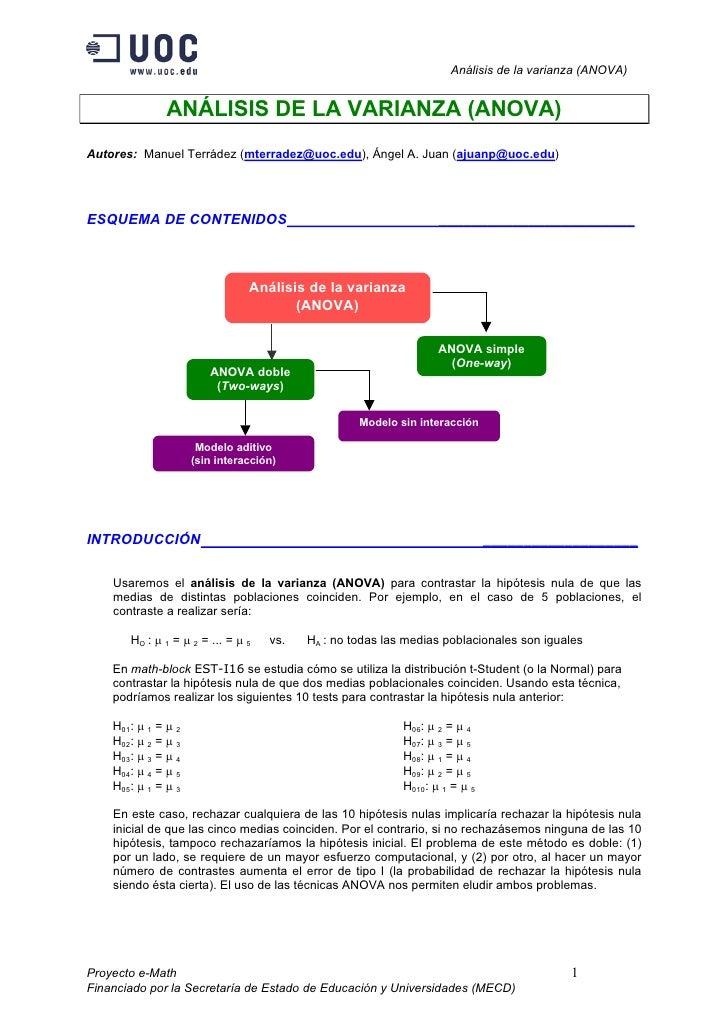 Análisis de la varianza (ANOVA)               ANÁLISIS DE LA VARIANZA (ANOVA)Autores: Manuel Terrádez (mterradez@uoc.edu),...
