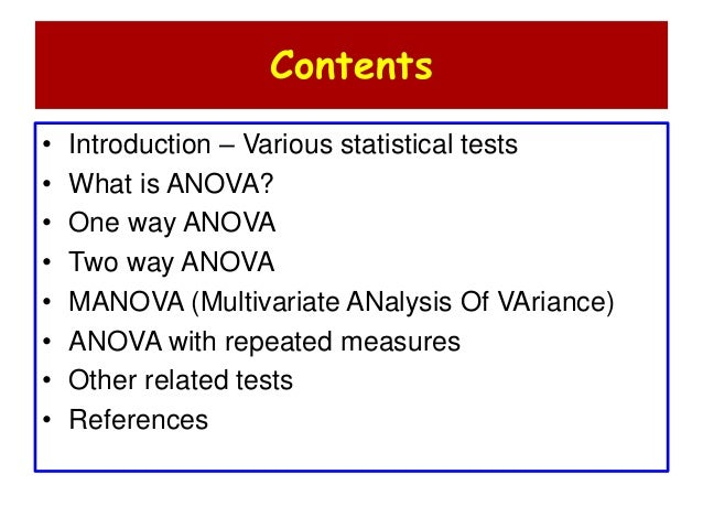 introduction to one way analysis of variance Introduction to applied statistics  one-way analysis of variance (anova) 81 - one-way analysis of variance (anova)  a one-way analysis is used to compare the .